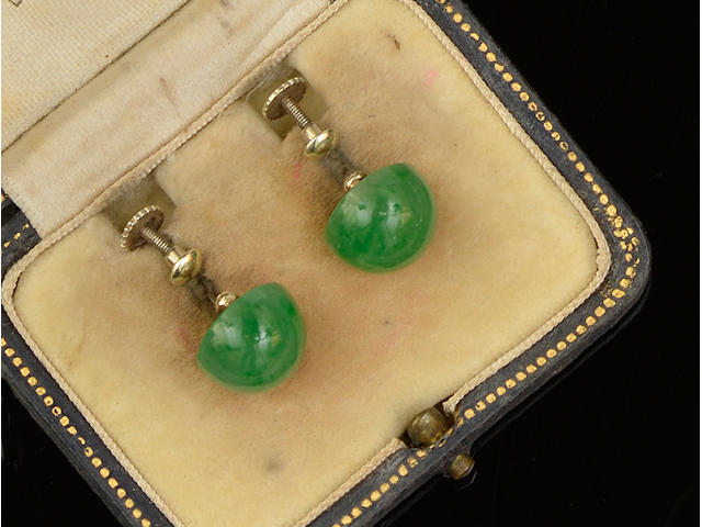 A pair of jade earrings