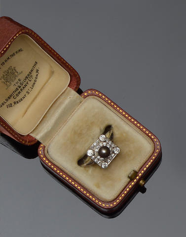 An Art Deco natural pearl and diamond ring