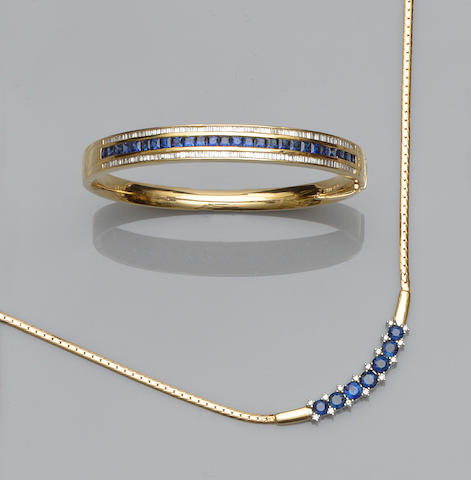 A sapphire and diamond set bangle and necklace (2)
