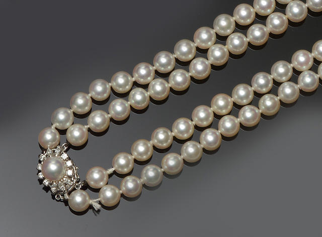 A double strand cultured pearl and diamond necklace