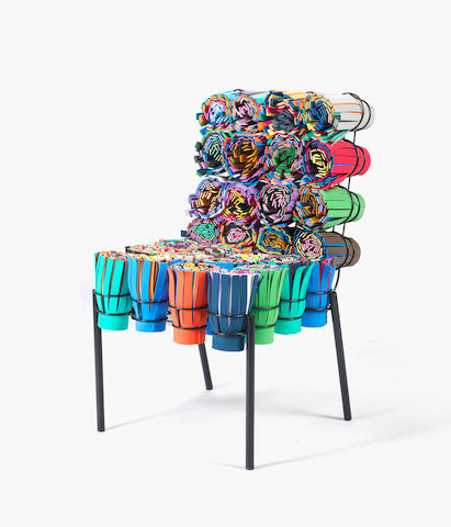 Fernando and Humberto Campana for EstudioᅠCampana Sushi III Chair designed 2002 and executed in 2005 stitched CAMPANA NO4 2005 carpet, rubber, EVA and painted iron Height: 93 cm. 36 5/8 in. This work is from an edition of 35.