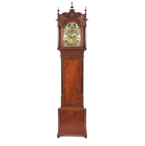 A George III mahogany longcase clock the dial signed John Wyke, Liverpool