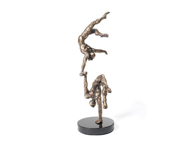 Stella Shawzin (South African, born 1923) 'Balancing Figures II' 90 x 34 x36cm (35 7/16 x 13 3/8 x 14 3/16in).