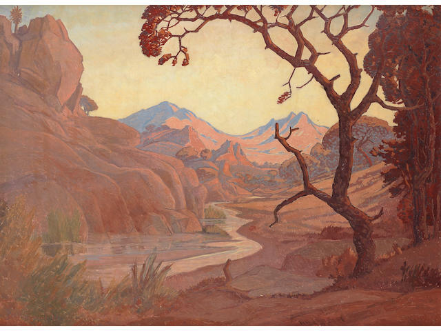 Jacob Hendrik Pierneef (South African, 1886-1957) Landscape with river