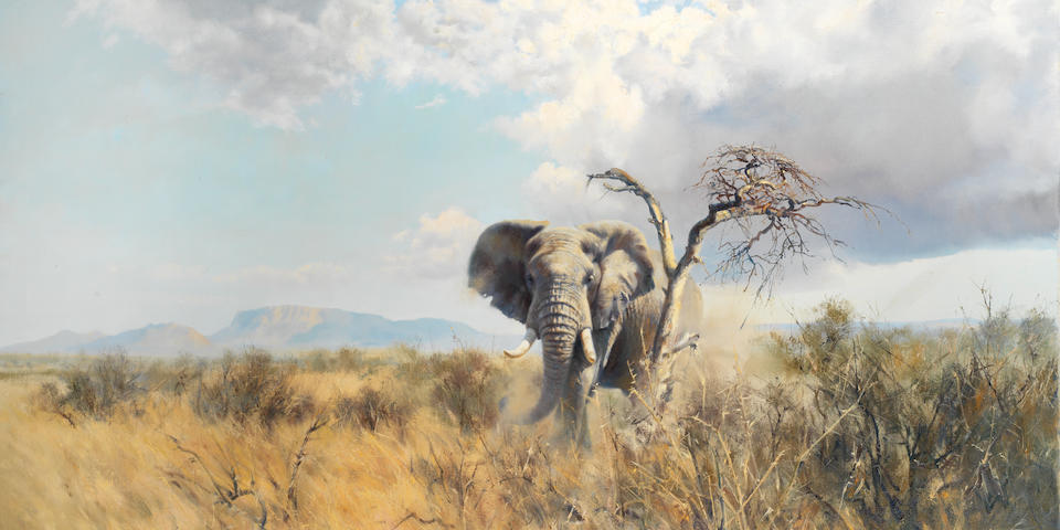 Donald Grant (British, 1942-2001) Elephant in an African landscape