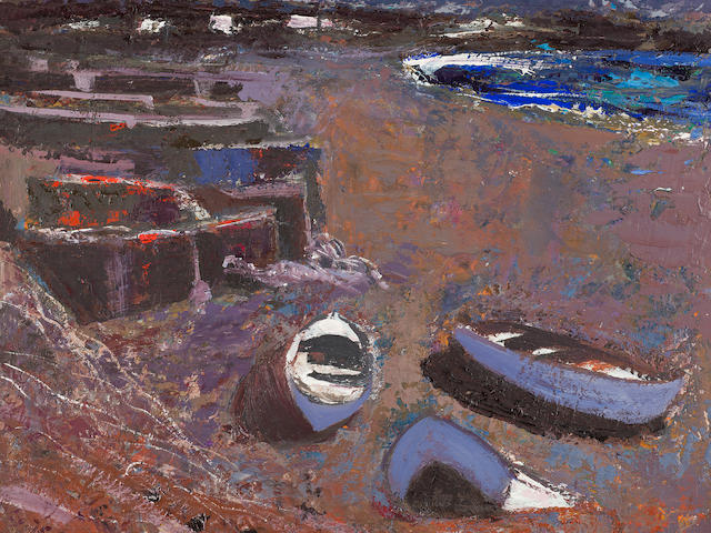 Anne Redpath, OBE RSA ARA LLD ARWS ROI RBA (British, 1895-1965) Boats on the Shore