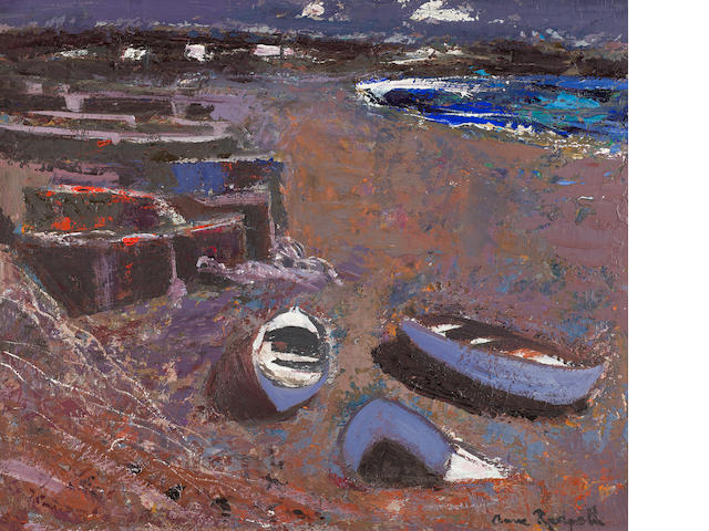 Anne Redpath, OBE RSA ARA LLD ARWS ROI RBA (British, 1895-1965) Boats on the Shore (The Canary Islands) 51 x 61 cm. (20 1/16 x 24 in.)