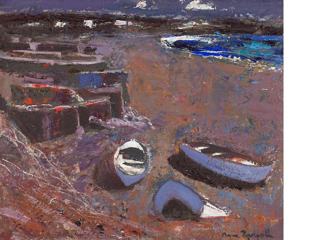Anne Redpath, OBE RSA ARA LLD ARWS ROI RBA (British, 1895-1965) Boats on the Shore (The Canary Islands) 51 x 61 cm. (20 1/16 x 24 in.)