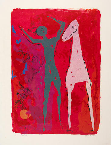 Marino Marini (Italian, 1901-1980) Piccolo Teatro Lithograph printed in colours, 1972, on japan, signed and inscribed 'prova d'artista' in pencil, an artist's proof aside from the numbered edition, published by Galerie Wolfgang Ketterer, Munich, with their blindstamp, with margins, 650 x 505mm (25 1/2 x 20 1/4in)(SH)(unframed)