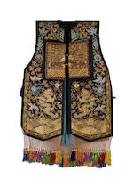 A Chinese embroidered 'xia pei' tabbard with rank badges, 19th century