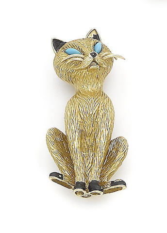 A gold, turquoise and enamel novelty brooch, by Cartier,