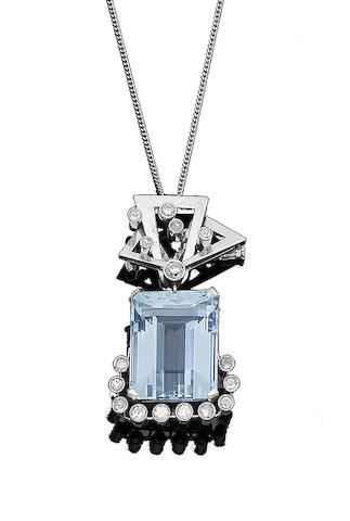 An aquamarine and diamond brooch/pendant