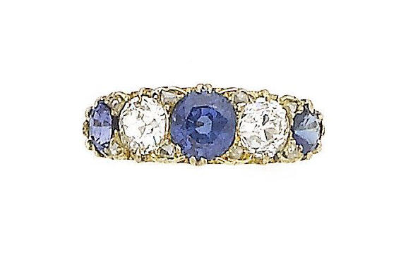 A sapphire and diamond five-stone ring