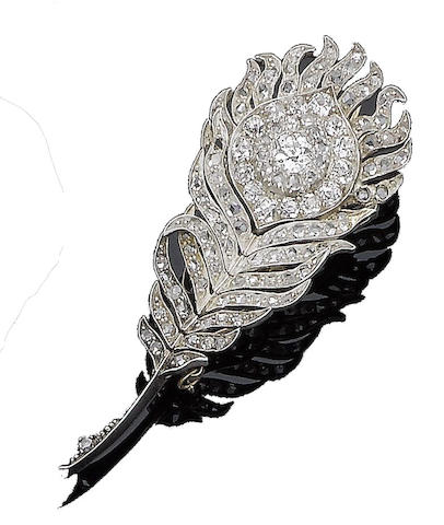 A diamond peacock feather brooch,