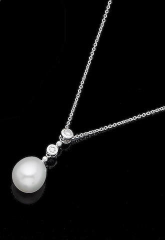 A cultured pearl and diamond pendant necklace, by Mikimoto