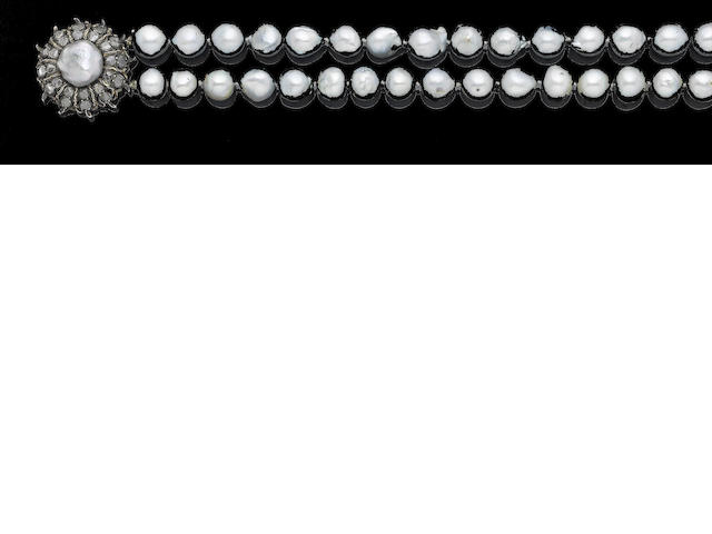 A two-strand cultured pearl necklace with diamond-set clasp, by Buccellati