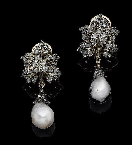 A pair of cultured pearl and diamond pendent earclips, by Buccellati
