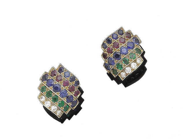 A pair of gem-set earrings, mounted by Cartier