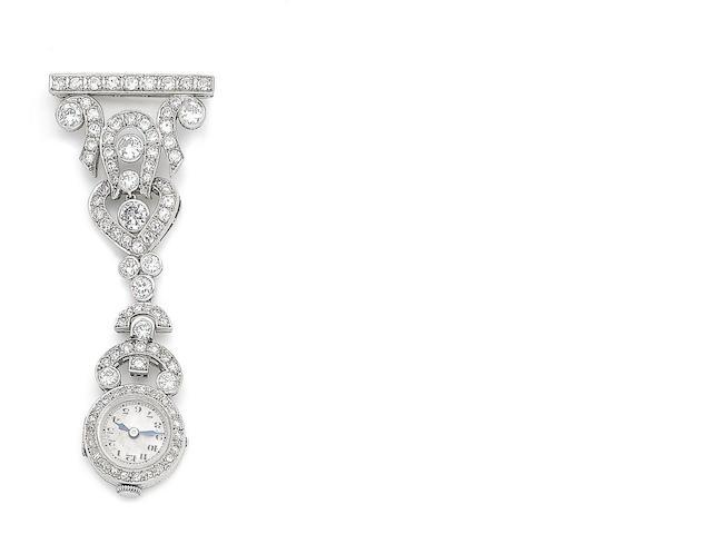 A diamond fob watch brooch