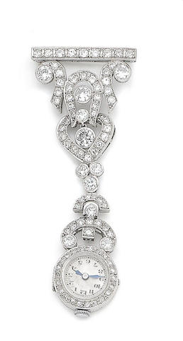 A diamond fob watch brooch