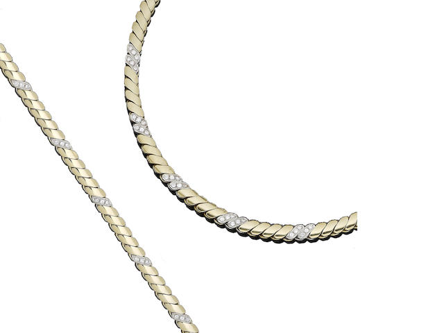 A diamond-set gold necklace and bracelet suite (2)