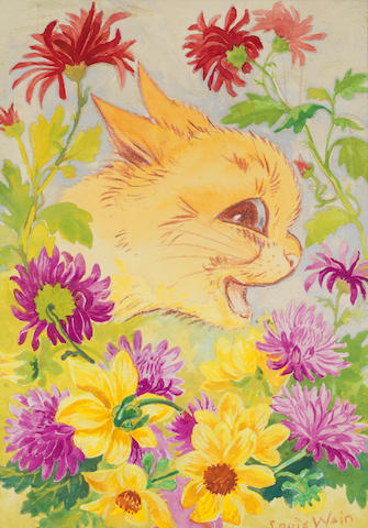 Louis William Wain (British, 1860-1939) Cat among the flowers