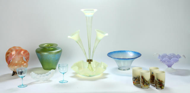 A group of coloured Art glass