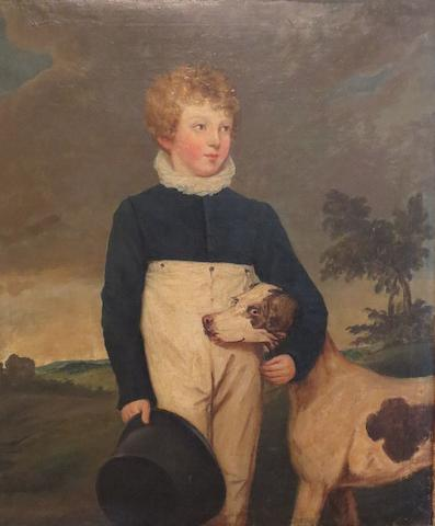 English School, 19th Century Portrait of a boy, full-length, with his dog in a landscape