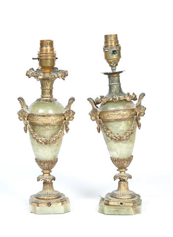 A pair of Second Empire style onyx and gilt metal mounted lamps