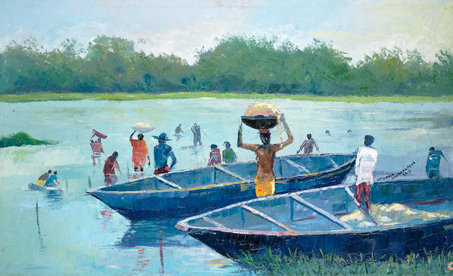 Ufuoma Onobrakpeya (Nigerian, born 1971) Labourers by the waterside unframed