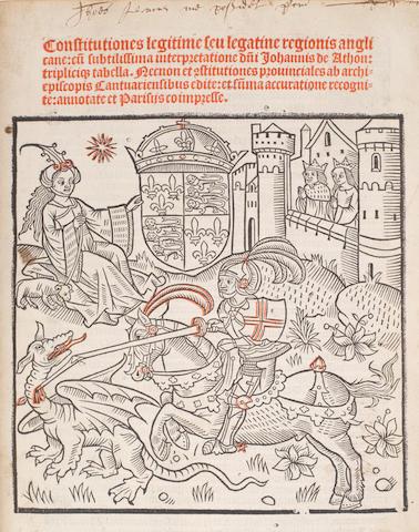ACTON (JOHN)] Constitutiones legitime seu legatine regionis anglicane: cu[m] sutilissima interpretatione d[omini] Johannis de Athon, Paris, [Wolfgang Hopyl and Hanse de Coblenz, 1504]