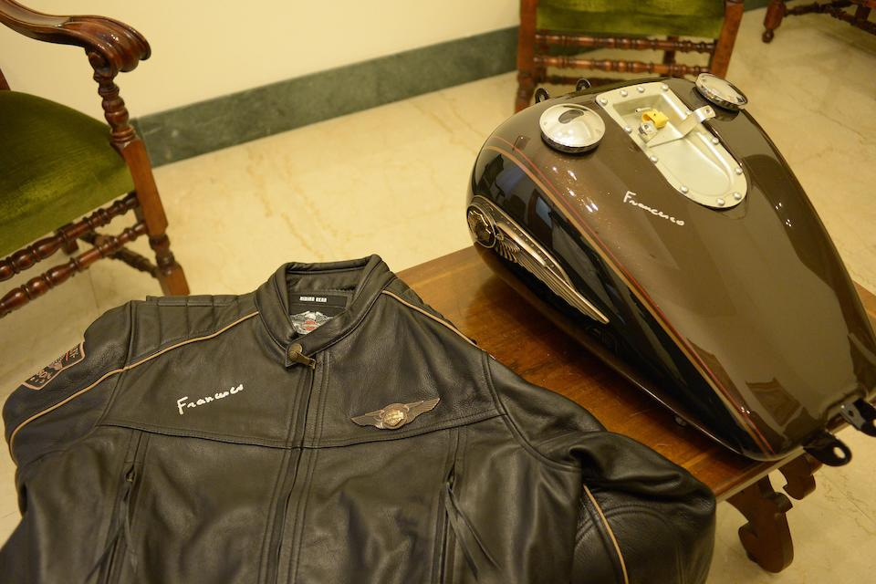 A Harley-Davidson 110th Anniversary leather motorcycle jacket presented to and signed by Pope Francis,