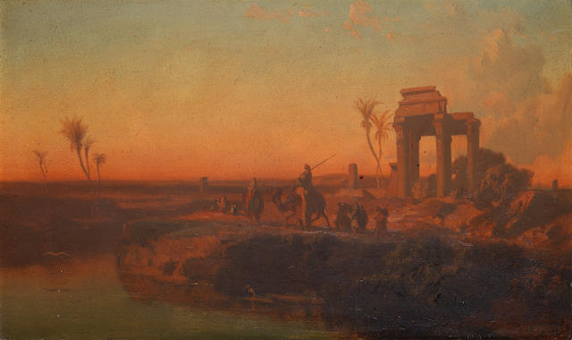 French School, 19th Century A camel train passing ruins at sunset
