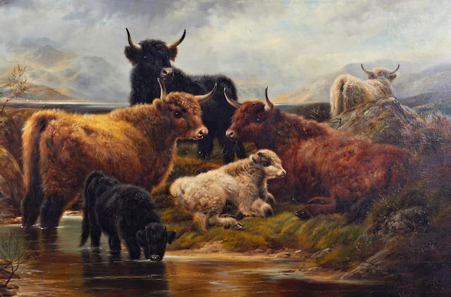 Robert Watson (British, active 1877-1920) Highland cattle by the loch side