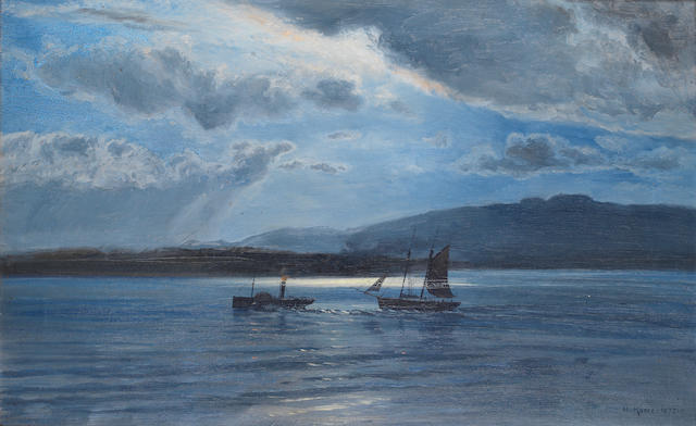 Henry Moore, RA (British, 1831-1895) The Traeth Maur, Moonlight and Twilight