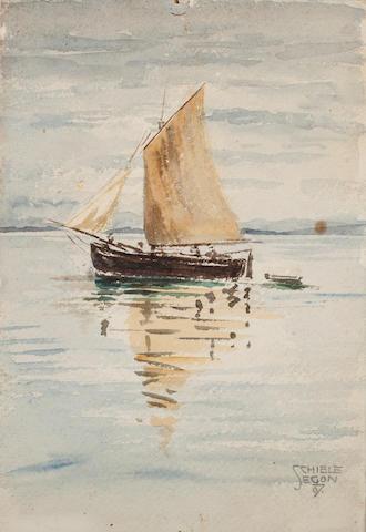 Egon Schiele (Austrian, 1890-1918) Segelschiff mit Spiegelungen