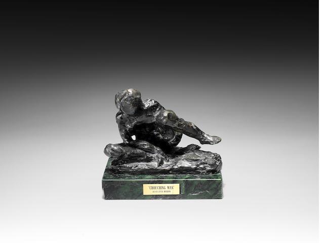 Auguste Rodin (French, 1840-1917) Homme Accroupi, Etude Type C, P.M dit aussi Figure assise penchée vers la droite levant la jambe gauche 12.7cm (5in) (height)