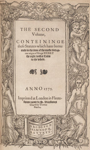 HENRY III - HENRY VIII [In this Volume are Conteyned the Statutes, Made and Established from the time of Kinge Henrye the thirde, vnto the firste yeare of the reygne of... Henry the viii], Thomas Marsh, 1577-1575, sold as a periodical