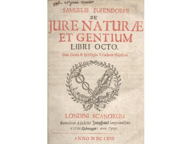 PUFENDORF (SAMUEL) De jure naturae et gentium libri octo, first edition, Lund, Adam Junghans, 1672