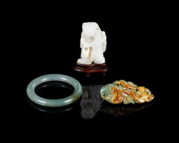 Three jade and jadeite items 19th and 20th century