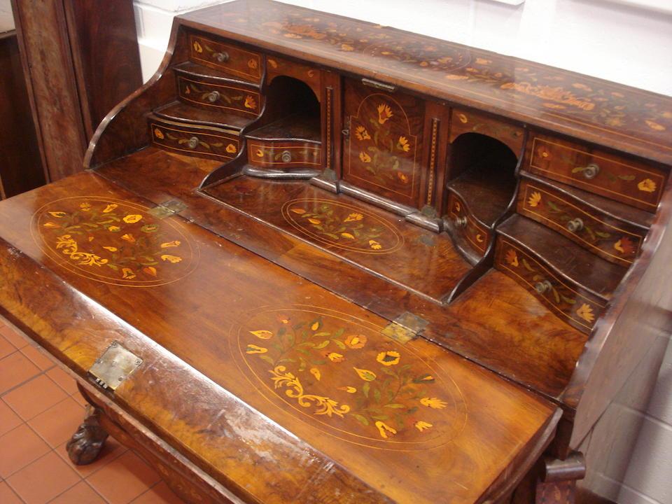 An early 19th Century Dutch floral marquetry, walnut bureau