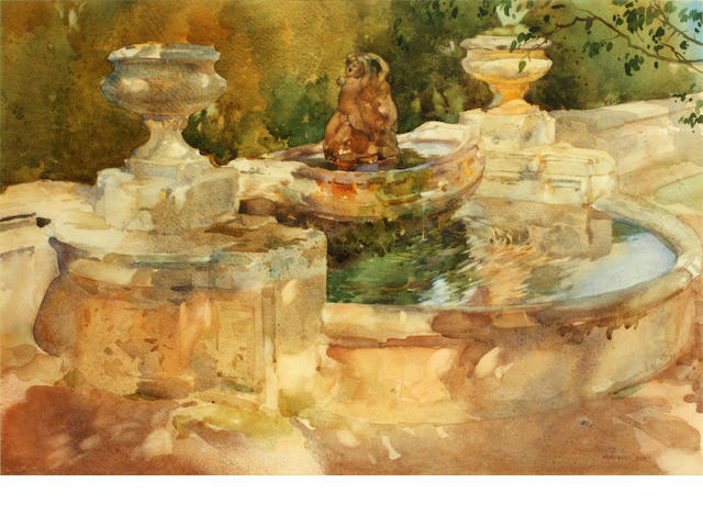 Sir William Russell Flint, RA, PRWS (British, 1880-1969) 'Fountain at Frascati'