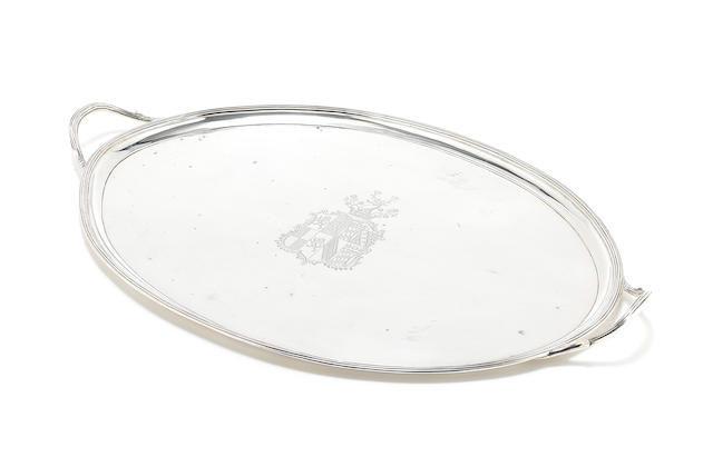A George III silver two-handle tray maker's mark I H with pellet between, possibly for John Hutson, London 1791