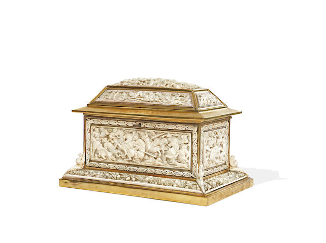 A Continental late 19th century carved ivory and polished brass mounted table casket probably German