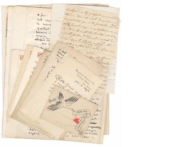 "CRANE (WALTER) Collection of nine autograph letters signed (""Walter Crane""), Beaumont Lodge, Manchester School of Art, and Holland Street, 1887-1912; and two autograph letters by the early nineteenth century illustrator John Thurston"