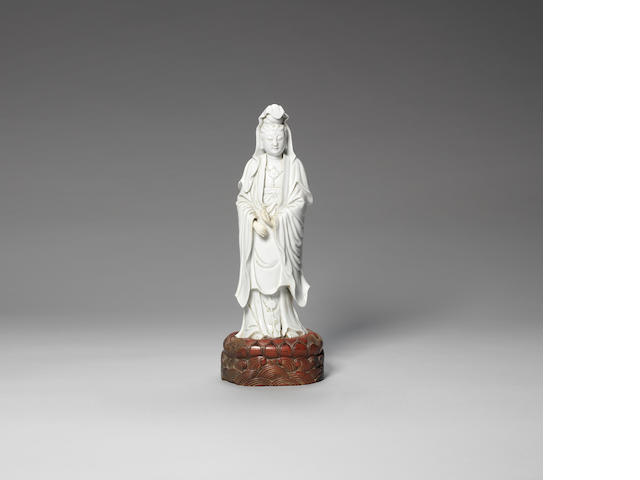 A blanc-de-chine figure of Guanyin 18th/19th century