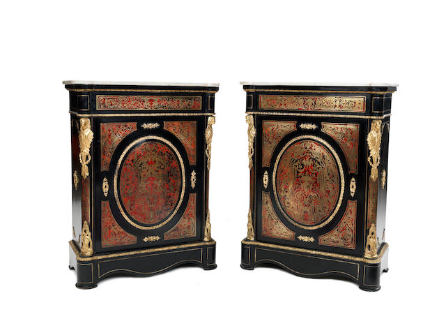 A pair of 19th century gilt bronze mounted tortoiseshell and brass 'Boulle' marquetry pier cabinets