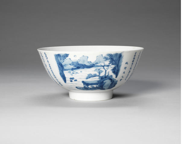 A blue and white 'Red Cliff' bowl Chenghua six-character mark, 18th century