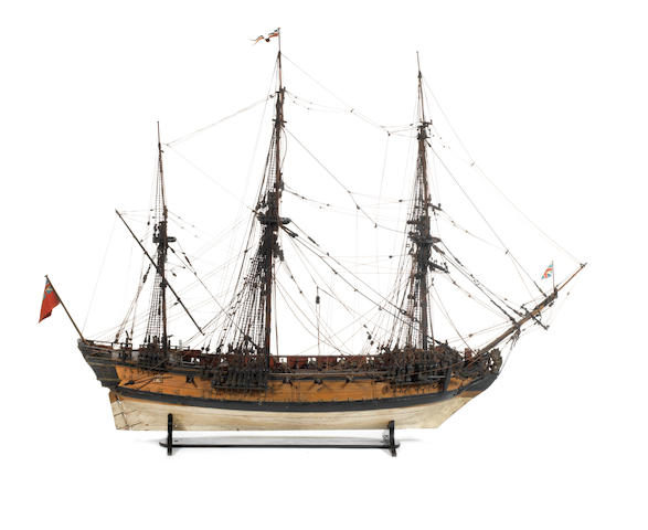 An exceptional contemporary model of an English 24 gun 6th Rate sloop ca. 1743 (118x98x44cm)