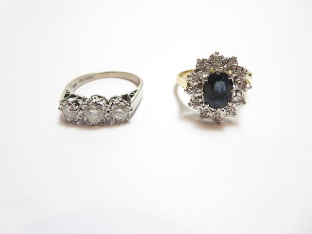 Two gem-set rings